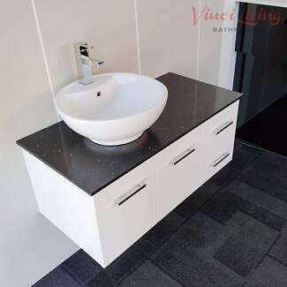 HURRY! 1M Bathroom Vanity Unit Stone Top Round Ceramic Basin