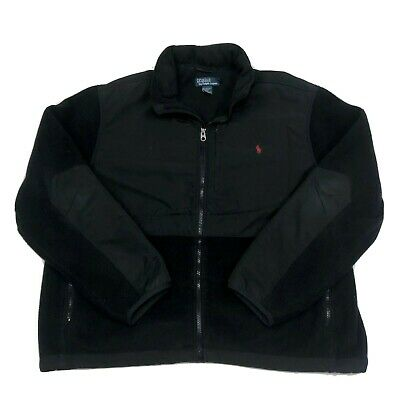 Polo Ralph Lauren Mens Size XXL Black Fleece Polartec Coat Jacket With Hood 2XL