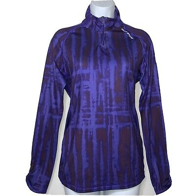 Under Armour Womens Cold Gear Top Long Sleeve Shirt 1/4 Zip Mock Purple Large