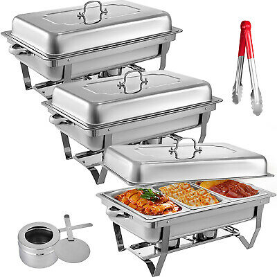 3 Pack Catering Stainless Steel Chafer Chafing Dish 9 Qt 13 Inserts Buffet