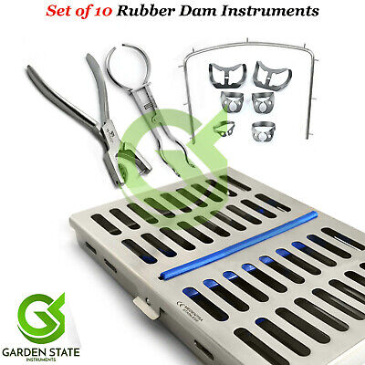 Dental Rubber Dam Kit Universal Brinker Clamps Frame Punch Forceps Mesh Cassette
