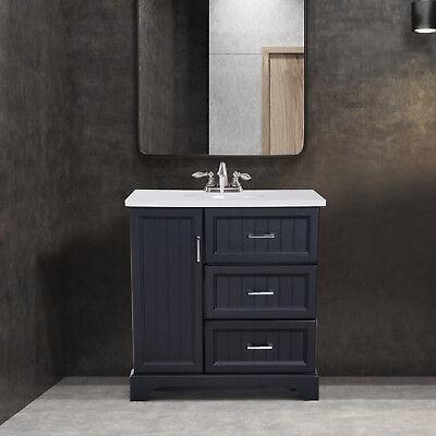 "Ceramic Bathroom Vanity - 34"" Modern Ceramic Sink Bathroom Vanity Set Storage Organizer Cabinet Drawers"