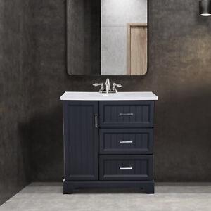 "34"" Modern Ceramic Sink Bathroom Vanity Set Storage Organizer Cabinet Drawers"