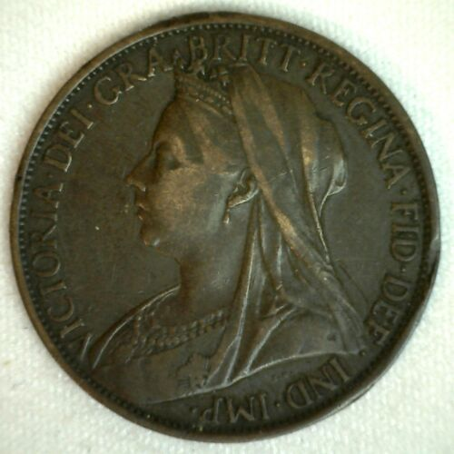 1900 Great Britain Penny Bronze Coin You Grade