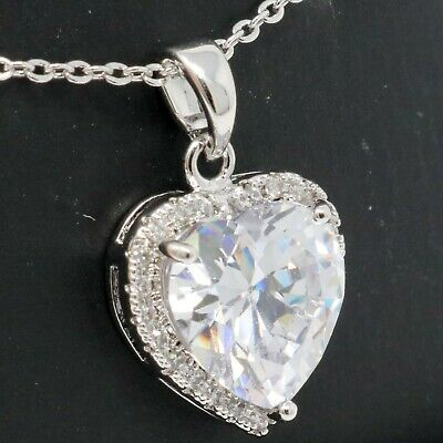 Hand Carved Lab Diamond Necklace 14K White Gold Plated Women Wedding Jewelry