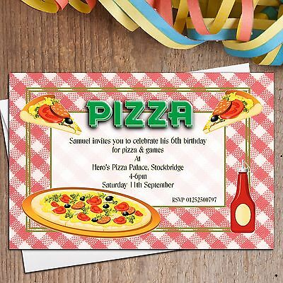 10 Personalised Girls Boys PIZZA Birthday Party Invitations N1