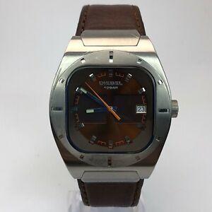 Diesel Mens DZ 4110 Brown Leather Band Date Indicator Quartz Analog Watch