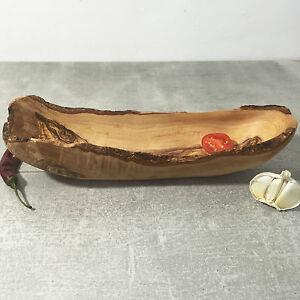 Medium Olive Wood Boat Bowl / Fruit and Baguette Serving Dish, handmade