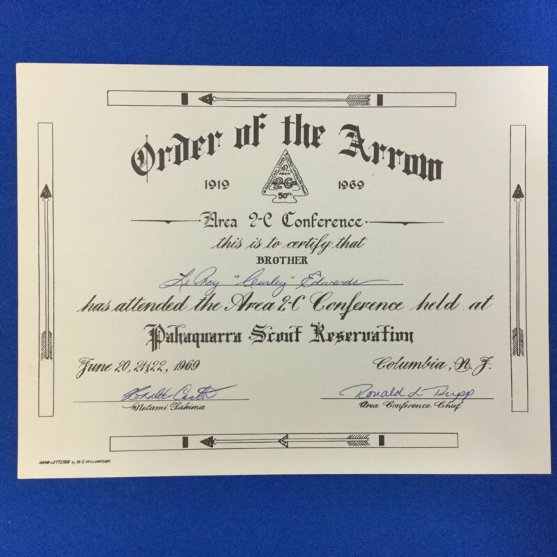 Boy Scout 1969 OA Area 2-C Conference Certificate Pahaquarra Scout Reservation