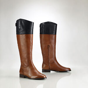 BNIB Ralph Lauren Two-Tone Brown/Black Leather Riding Equestrian Boots $295 sz 6