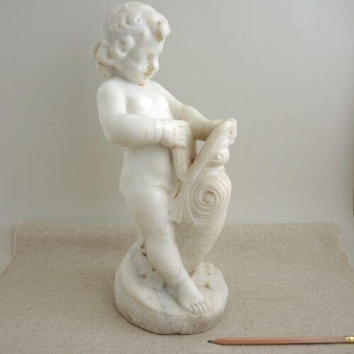"Antique Marble Cherub Fish Fountain Head Sculpture 15"" Carved Centerpiece Statue"