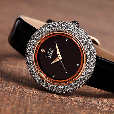 Women's Burgi BUR199BKR Diamond Marker Swarovski Bezel Black Leather Strap Watch