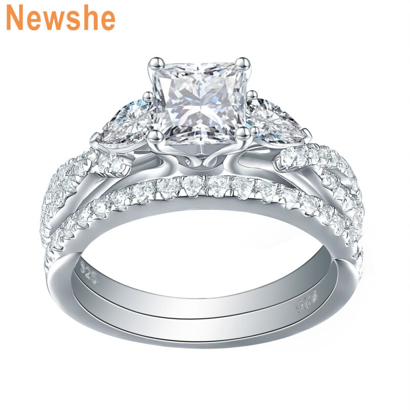 Newshe 2.3ct Princess Pear Aaaa Cz Sterling Silver Engagement Wedding Ring Set