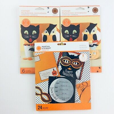 fts Vintage Halloween Party Invitations Black Cat Owl  (Martha Stewart Halloween-party)