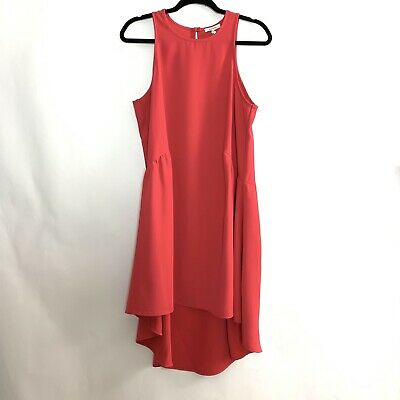 Low Waist Dress - Pleione Sleeveless Drop waist Ruffle Dress Medium Orange Red High Low