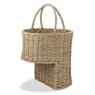 Seagrass Stair Basket Rattan Wicker Basket Step Storage with Handle M&W