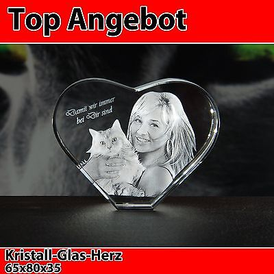 Glas Herz Ihr Foto in 3D Katze Geschenkidee Laserfoto Gravur Deko Ostern NEU