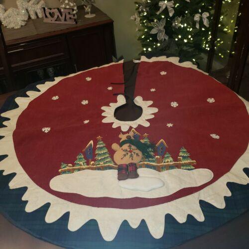 """VINTAGE DAN DEE  CHRISTMAS TREE SKIRT 3D Reindeer   Winter Scene 44"""""""