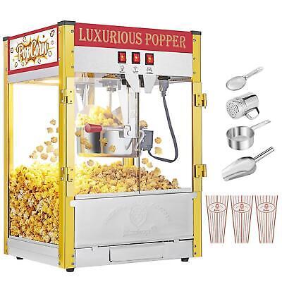 New Commercial Popcorn Maker Machine 8oz Tabletop Corn Popper Stainless Steel