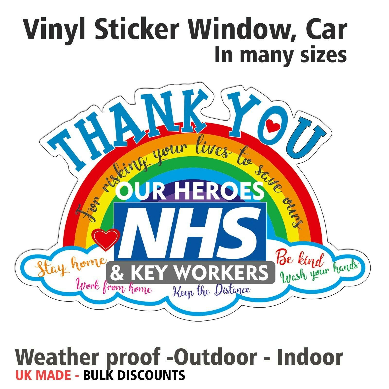 Home Decoration - Rainbow Window vinyl Sticker Thank You NHS&Key workers fight CarBumper Bin decal