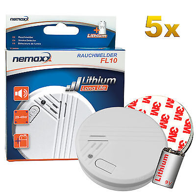 Nemaxx 5x Rauchmelder FL10 mit 10 Jahre Lithium Batterie + 5x Magnethalterung