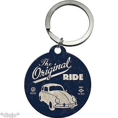 Nostalgic VW Beetle the original Ride Werbung Schlüsselanhänger rund 4cm Lizenz