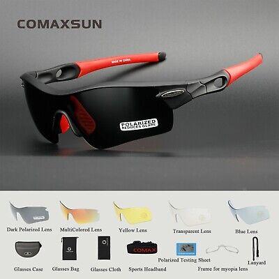 COMAXSUN Polarized Cycling Glasses Bike MTB Sports Sunglasses 5 Lens Goggles (Mtb Sunglasses)