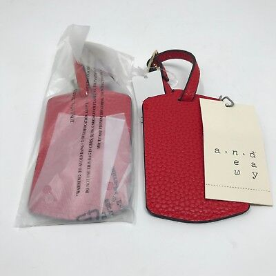 "Lot of Two A New Day Luggage Tags Bright Red Travel Accessories ""Fly Away"" NEW"