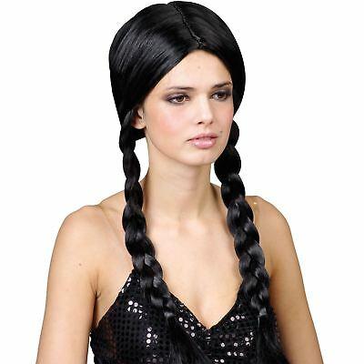 Black School Girl Pig Tails Fancy Dress Up Party Wig Costume Outfit Accessory ()