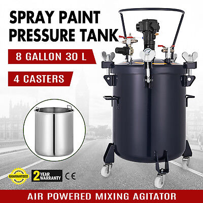 8 Gallon Pressure Feed Paint Pot Tank Spray Gun Sprayer Reg Air Mix Agitator