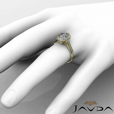 Cathedral Halo Pave Bezel Setting Oval Diamond Engagement Ring GIA H VS2 1.8 Ct 8