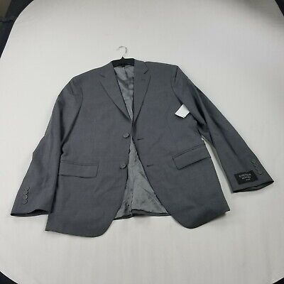 Nordstrom Men's Suit Jacket  40 R  Gray Solid Trim Fit  wool blend dd