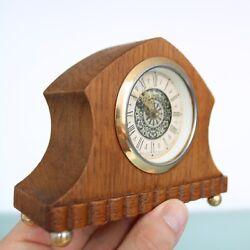 German MANTEL Baby Mini CLOCK Vintage Miniature Mid Century Wood TOP Condition!