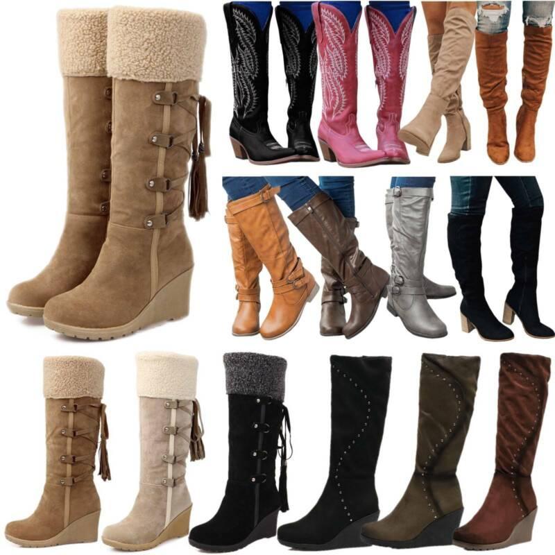 Women Winter Fleece Snow Boots Knee High Wide Calf Wedge Hee