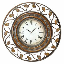 Zimlay Rustic Round Iron Wall Clock With Leaf Scroll Fretwork Design 57720