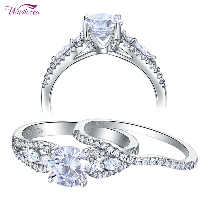 Wuziwen Wedding Engagement Ring Set For Women 2.2ct Round Cz 925 Sterling Silver
