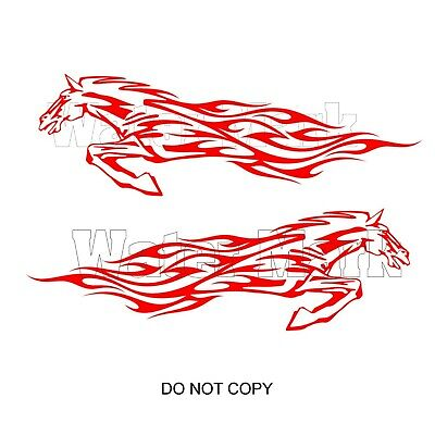 - Flame Running Horse Vinyl Decals - Cars, Boats, Motorcycles More  - Select Color