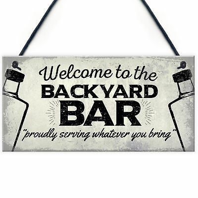 Backyard Bar Garden Hanging Plaque Alcohol Man Cave Vintage Beer Gin Shed Sign
