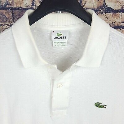 LACOSTE Mens Solid White Polo Shirt Size 4 Short Sleeve