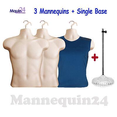 3 Pack Flesh Male Torso Mannequins 3 Hangers 1 Stand Dress Form Display
