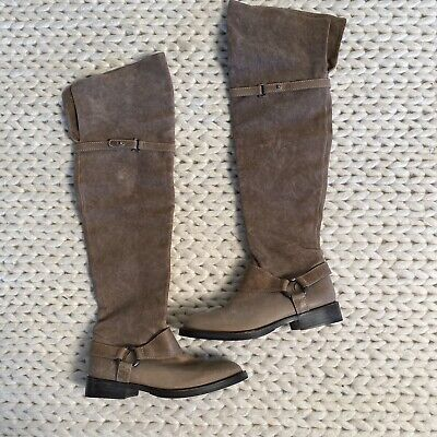 Brunello Cucinelli Taupe Leather OTK Over The Knee Boots Womens Size 35