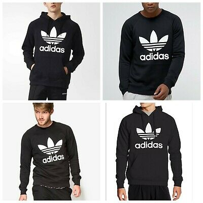 Adidas Original Men's TREFOIL BLACK Hoodie and Crew Neck SWEATSHIRT S M L XL