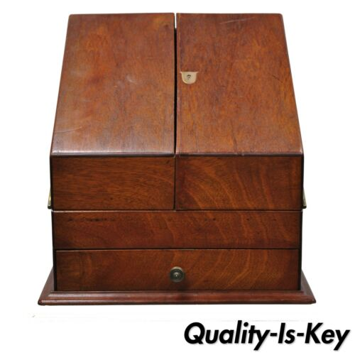 Antique English Edwardian Mahogany and Brass Stationary Writing Desk Letter Box