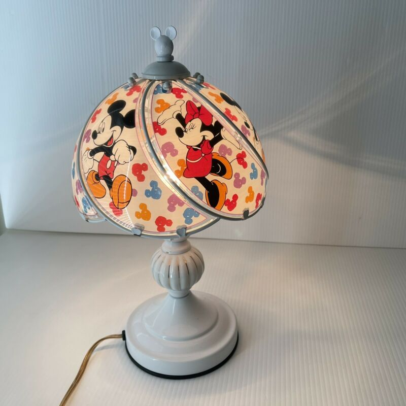 Disney Lamp Mickey Minnie Mouse Metal Glass Panel Table Touch Switch 60W Vintage