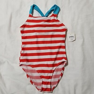 NWT Girls Swimsuit 9/10 Red White Blue Striped 1 Pc Patriotic 4th of July