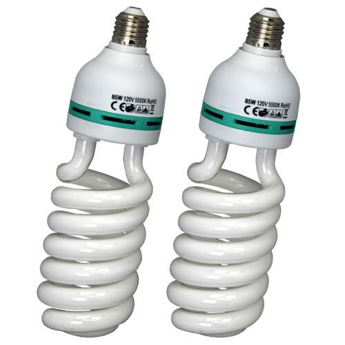 2PK 85W Photography Lighting Studio CFL Bulbs Daylight Spiral Fluorescent 5500K