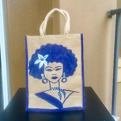Tote bag Burlap beach bagfavor bagsParty totesAfrican hand painted Jute bag