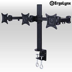 Ergolynx Triple VESA Monitor Arm Stand Desk Mount LCD LED Display 3 24