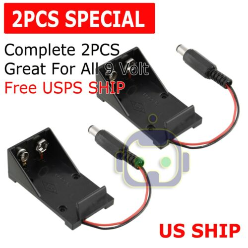 2Pcs 2 Wires DC 9V Cell Volt Battery Storage Clip Holder Box Case Cover T model