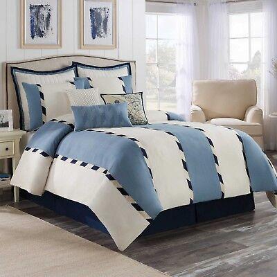 Bridge Street Chatham Queen Comforter Set in Blue/White NEW
